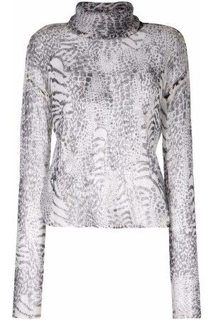 TWINSET Women Turtlenecks - Animal-print roll-neck knitted jumper