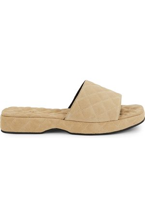 By Far Lilo stone quilted suede flatform sliders