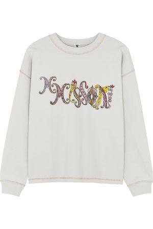 M Missoni Women Sweatshirts - Light grey logo-print cotton sweatshirt
