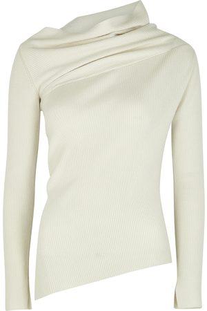EUDON CHOI Eileen ivory asymmetric merino wool jumper