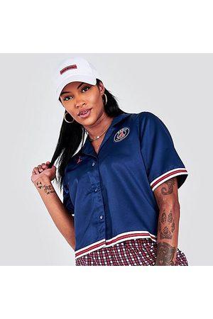 Nike Jordan Women's Paris Saint-Germain Button-Down Shirt in /Midnight Navy Size X-Small 100% Polyester/Satin