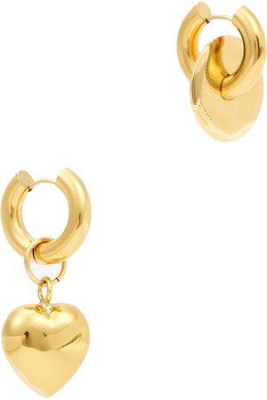 Timeless Pearly Asymmetric 24kt -plated hoop earrings