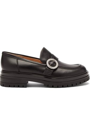 Gianvito Rossi Crystal-buckle Leather Loafers - Womens
