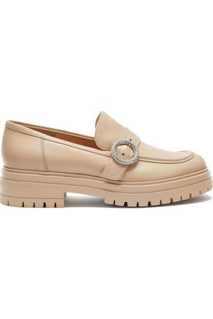 Gianvito Rossi Women Loafers - Crystal-buckle Leather Loafers - Womens