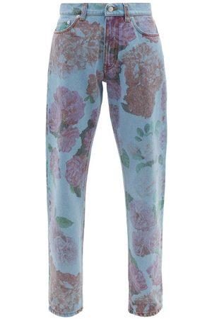 Molly Goddard Otto Rose-print High-rise Straight-leg Jeans - Womens - Denim Multi