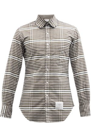 Thom Browne Frayed Checked Cotton-oxford Shirt - Mens