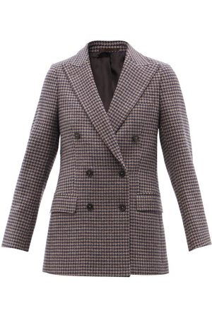 Officine Générale Manon Double-breasted Houndstooth Wool Blazer - Womens - Navy