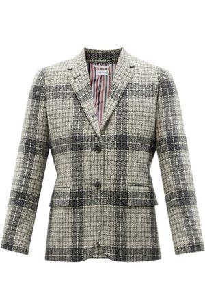 Thom Browne Women Blazers - Check Wool-twill Shrunken Blazer - Womens - Grey