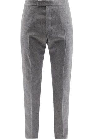 Thom Browne Tricolour-stripe Wool-blend Slim-leg Trousers - Mens - Grey
