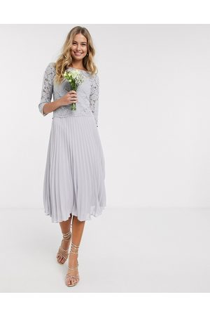 Oasis Bridesmaid lace cap sleeve pleated dress in -Grey
