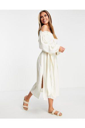ASOS Off shoulder super crinkle beach dress in natural