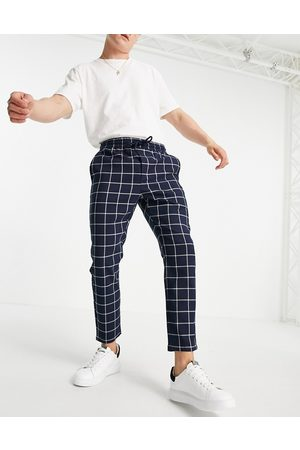 Only & Sons Check pants with drawstring waist in navy