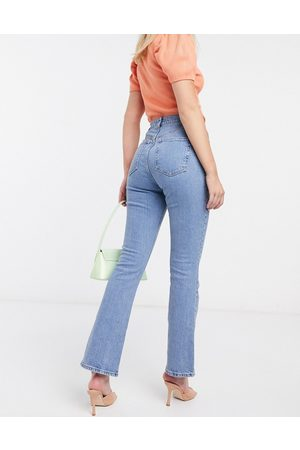 ASOS High rise 70s stretch flares in bright mid wash