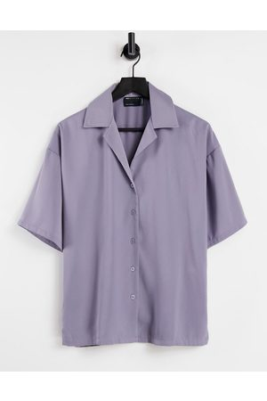 ASOS Relaxed pajama suit shirt in lilac