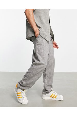 ASOS Oversized tapered pants in lightweight texture - part of a set-Grey
