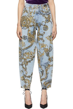 VERSACE Blue & Gold Regalia Baroque Print Tapered Jeans