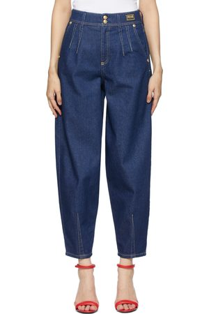 VERSACE Navy Tapered Mom-Fit Jeans