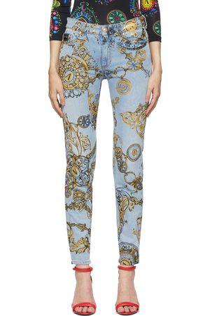 VERSACE Blue & Gold Regalia Baroque Print Slim-Fit Jeans