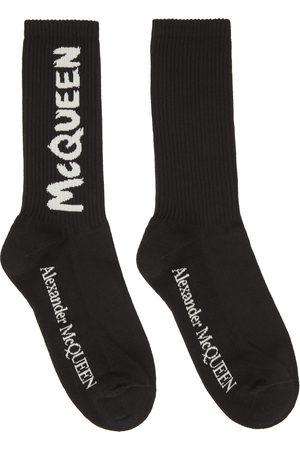 Alexander McQueen Black Graffiti Socks