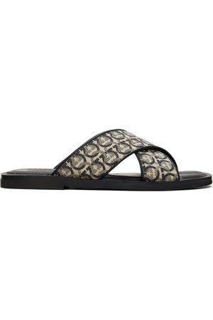 Salvatore Ferragamo Black & Beige Sion 3 Logo Sandals