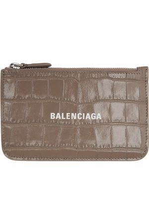 Balenciaga Taupe Croc Long Essential Card Holder