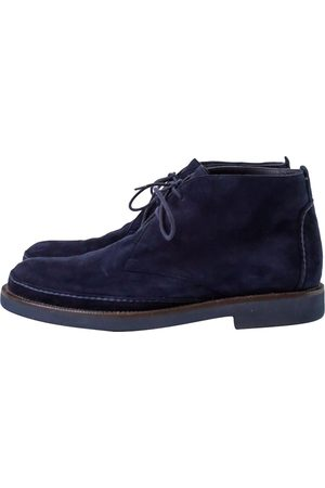Loro Piana Navy Suede Ankle Boots