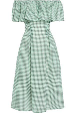 REJINA PYO Women Strapless Dresses - Woman Olivia Off-the-shoulder Gingham Gauze Midi Dress Size 8