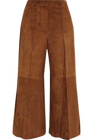 Khaite Woman Bruce Cropped Suede Wide-leg Pants Light Size 4