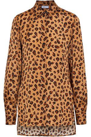 ROSETTA GETTY Woman Leopard-print Satin-twill Shirt Animal Print Size 10