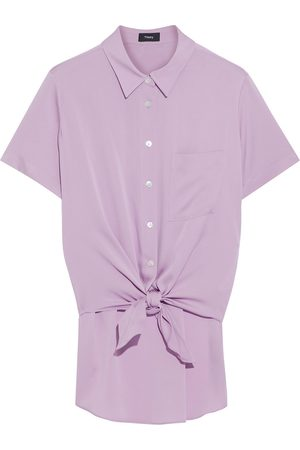 THEORY Woman Silk-blend Shirt Lilac Size L
