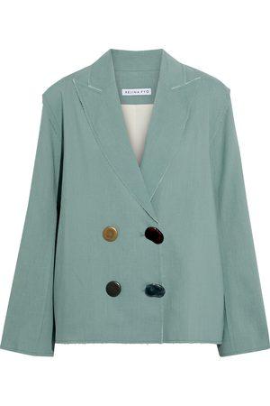 REJINA PYO Women Blazers - Woman Alex Double-breasted Tencel And Linen-blend Blazer Mint Size 8