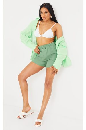 PRETTYLITTLETHING Sage Woven Boxer Detail Shorts