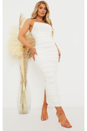 PrettyLittleThing Women Strapless Dresses - Pointed Bandeau Mesh Ruched Midaxi Dress