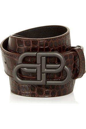 Balenciaga Men Belts - Men's Logo Buckle Croc Embossed Leather Belt