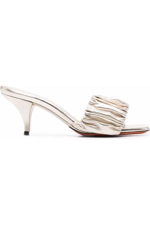 santoni Women Sandals - Ruched leather sandals