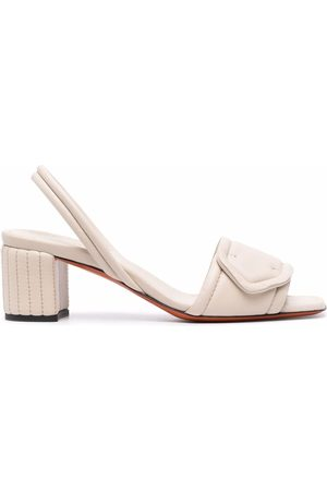 santoni Women Sandals - Leather slingback sandals - Neutrals