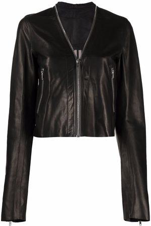 Rick Owens Women Leather Jackets - V-neck leather jacket