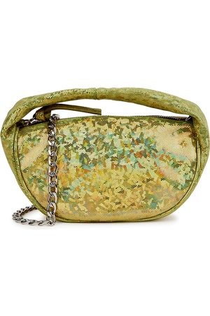 BY FAR Baby Cush holographic suede shoulder bag