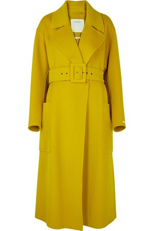 Sportmax Dinar mustard belted wool coat