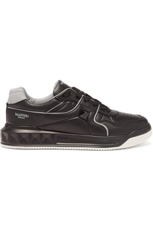 VALENTINO GARAVANI One Stud Quilted Panelled Leather Trainers - Mens - Grey