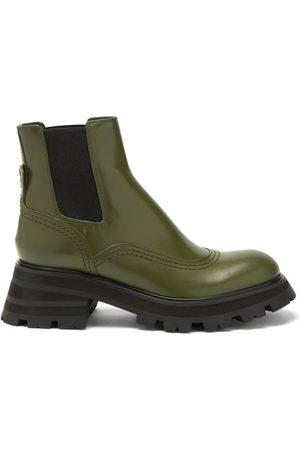 Alexander McQueen Women Chelsea Boots - Wander Leather Chelsea Boots - Womens - Khaki