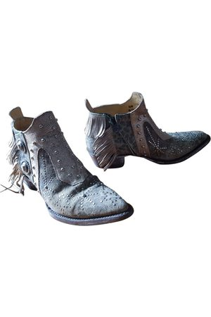 Mexicana Khaki Leather Ankle Boots