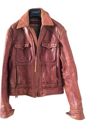Dsquared2 Burgundy Leather Jackets