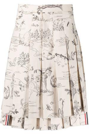 Thom Browne Men Suits - Sketch-print pleated suit skirt
