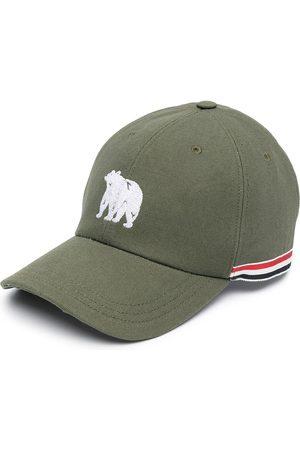 Thom Browne Men Caps - Bear embroidered RWB stripe baseball cap