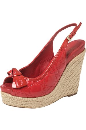 Dior Women Wedges - Patent Cannage Leather Espadrille Wedge Peep Toe Slingback Sandals Size 37.5
