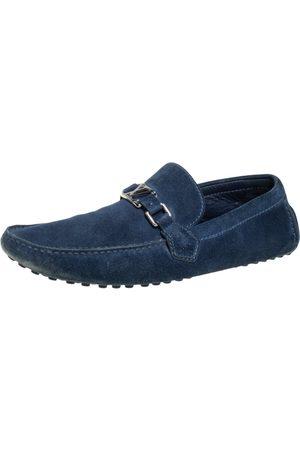 LOUIS VUITTON Suede Hockenheim Slip On Loafers Size 45