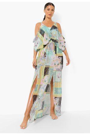 Boohoo Womens Bandana Chain Print Beach Dress - - L