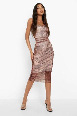 Boohoo Womens Tall Marble Print Bandeau Midi Dress - - 2