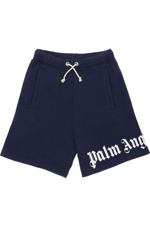 Palm Angels Logo Print Cotton Shorts